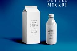 Мокап упаковки и бутылки из-под молока